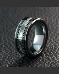 Avant-garde Obsidian Tungsten Shell Inlay Ring
