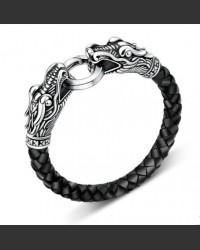 Double Dragon Men's Leather Bracelet