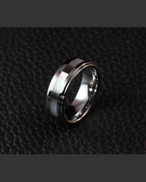 Avant-garde Tungsten Abalone Shell Inlay Ring