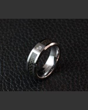 Silverstone Tungsten Carbon Fibre Ring with inset Cubic Zirconia