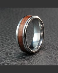 Tungsten Elegance Ring with Wood Inlay