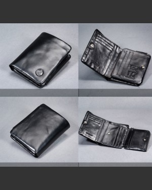 Ottimo Black Leather Wallet with coin compartment