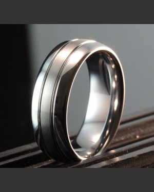 Tungsten Classic Laser etched Brushed Ring