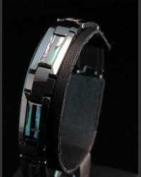 Avant-garde Tungsten Double Abalone Shell Inlay Bracelet