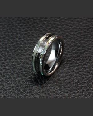 Avant-garde Tungsten Double Abalone Shell inlay Ring