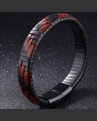 Terracotta Red and Black Woven Synthetic Leather Men's Bracelet