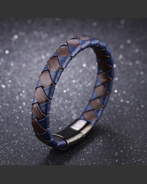 Azure Blue and Brown Woven Synthetic Leather Men's Bracelet
