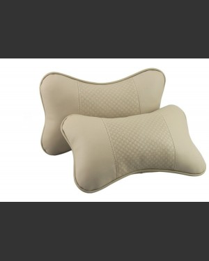 Beige/Cream Genuine Leather Car Neck Cushions
