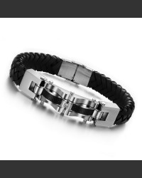 Carbon Zirconia Leather Men's Bracelet