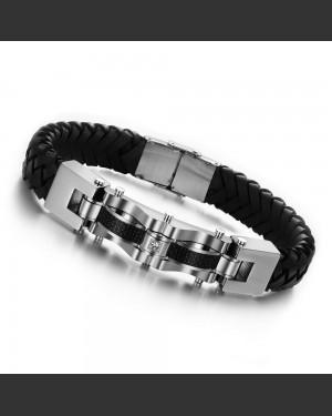 Carbon Zirconia Leather Men's Bracelet