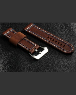 Banda Enzo Double Stitched Brown Leather Watch strap