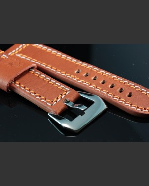 Banda Enzo Double Stitched Tan Leather Watch Strap