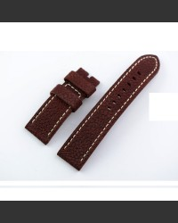 Magma Dark Red Leather Watch Strap 24mm